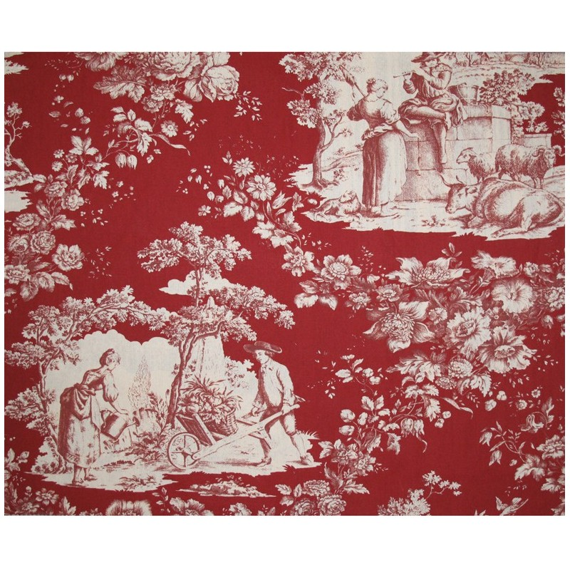 tissu toile de jouy courtisane cru fond bordeaux x 10cm ma petite mercerie. Black Bedroom Furniture Sets. Home Design Ideas
