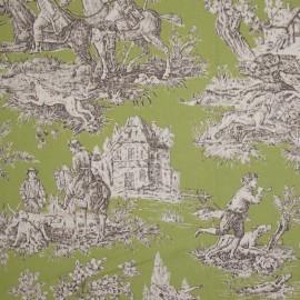 Tissu toile de Jouy Bien Aller Vert x 62cm