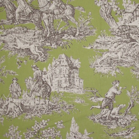 toile de jouy fabric bien aller green x 62cm ma petite mercerie. Black Bedroom Furniture Sets. Home Design Ideas