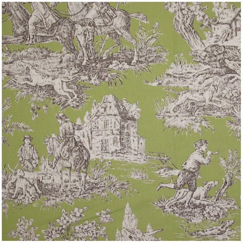 tissu toile de jouy bien aller vert x 10cm ma petite mercerie. Black Bedroom Furniture Sets. Home Design Ideas