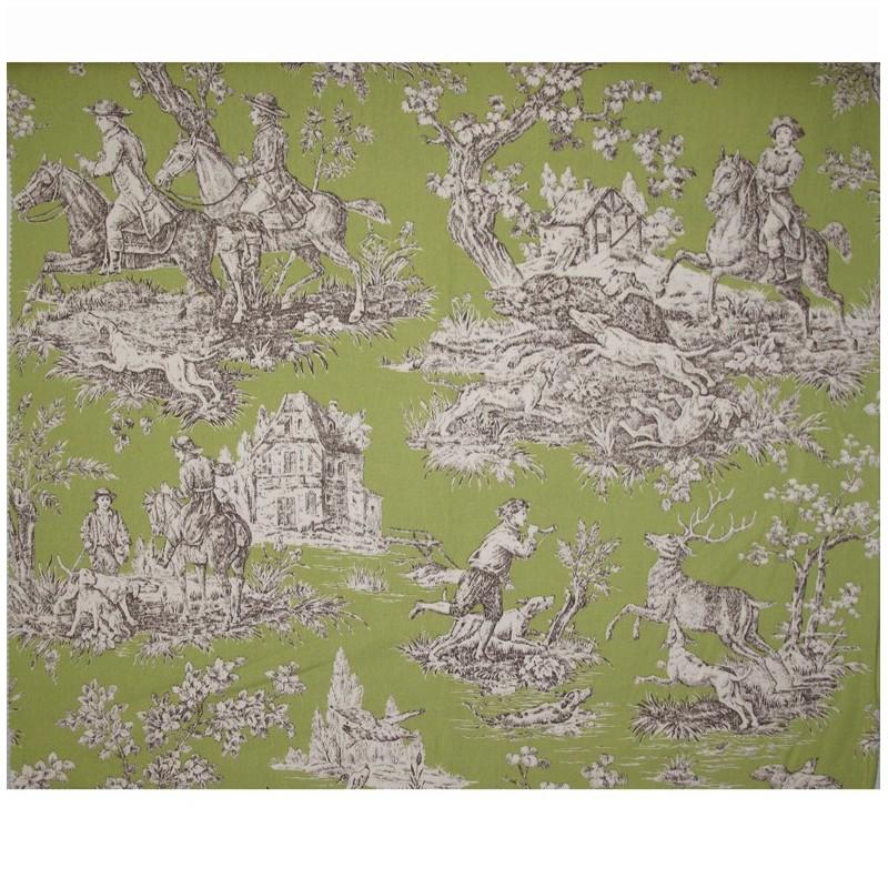 tissu toile de jouy bien aller vert x 62cm ma petite. Black Bedroom Furniture Sets. Home Design Ideas