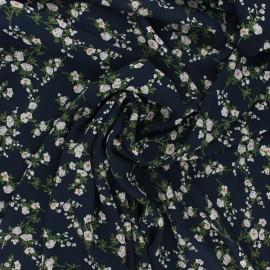 Georgette crepe fabric - midnight blue Floraison x 10cm