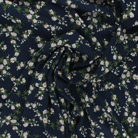 Tissu crêpe Georgette Floraison - bleu nuit x 10cm