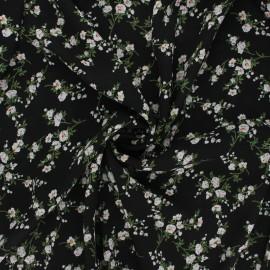 Georgette crepe fabric - black Floraison x 10cm
