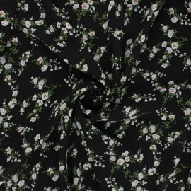 Tissu crêpe Georgette Floraison - noir x 10cm