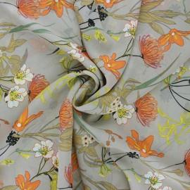 Tissu mousseline Jardin printanier - grège x 50cm