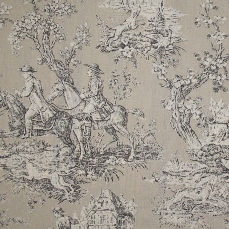 tissu toile de jouy bien aller beige x 10cm ma petite mercerie. Black Bedroom Furniture Sets. Home Design Ideas