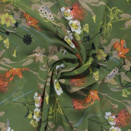 Tissu mousseline Jardin printanier - vert x 50cm