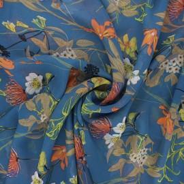 Tissu mousseline Jardin printanier - bleu houle x 50cm