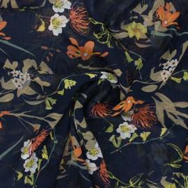 Tissu mousseline Jardin printanier - bleu nuit x 50cm