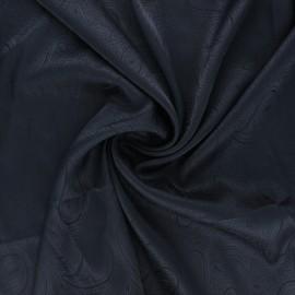 Tissu doublure jacquard satiné Paisley - bleu nuit x 10cm
