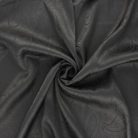 Tissu doublure jacquard satiné Paisley - anthracite x 10cm