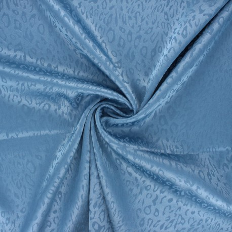 Satin jacquard lining fabric - blue Fancy x 10cm