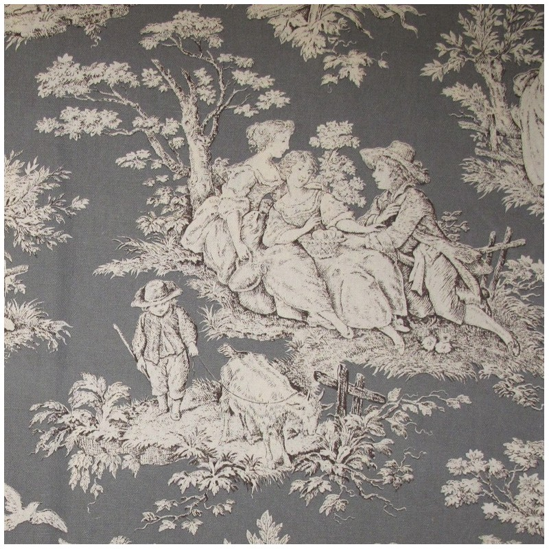 tissu toile de jouy fontevraud anthracite x 10cm ma petite mercerie. Black Bedroom Furniture Sets. Home Design Ideas
