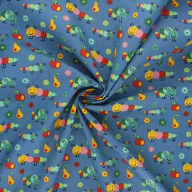 Poplin cotton fabric - steel blue Happy Timmy x 10cm