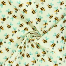 Poplin cotton fabric - ivory Bee work x 10cm