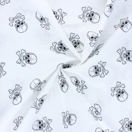 Poplin cotton fabric - white Dark skully x 10cm