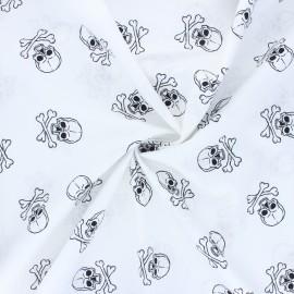 Tissu coton popeline Dark skully - blanc x 10cm