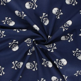 Poplin cotton fabric - night blue Dark skully x 10cm