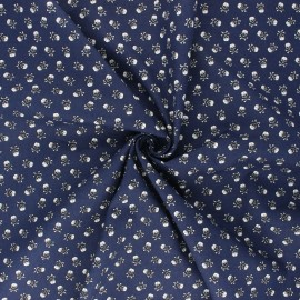 Poplin cotton fabric - night blue Mini skully x 10cm