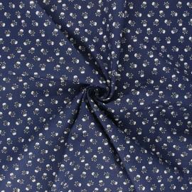 Tissu coton popeline Mini skully - bleu nuit x 10cm