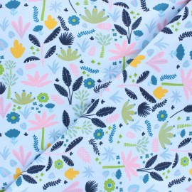 Printed Jersey fabric - light blue Tropicalia x 10cm