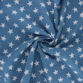 Tissu double gaze de coton Drawn star - bleu houle x 10cm