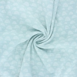 Double cotton gauze fabric - opalin green Soft rainbow x 10cm