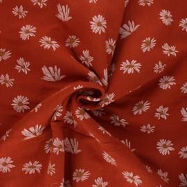 Tissu double gaze de coton Daisies - rouille x 10cm