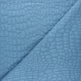 Tissu maille viscose texturé Girafe - bleu houle x 10cm