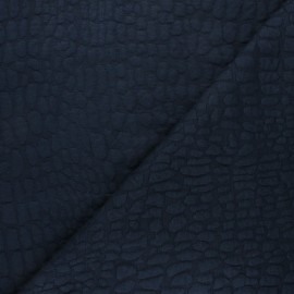 Tissu maille viscose texturé Girafe - bleu nuit x 10cm