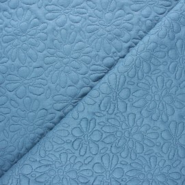 Tissu maille viscose texturé Daisy - bleu houle x 10cm
