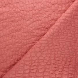 Tissu maille viscose texturé Girafe - bois de rose x 10cm