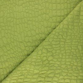 Textured viscose knit fabric - green Girafe x 10cm