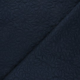 Textured viscose knit fabric - midnight blue Daisy x 10cm