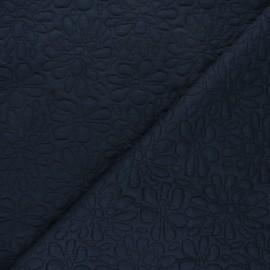 Tissu maille viscose texturé Daisy - bleu nuit x 10cm