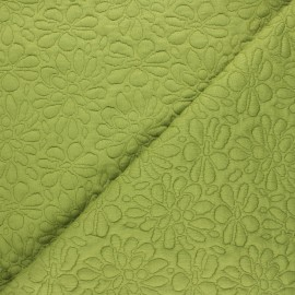 Textured viscose knit fabric - green Daisy x 10cm