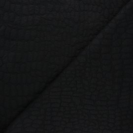 Textured viscose knit fabric - black Girafe x 10cm
