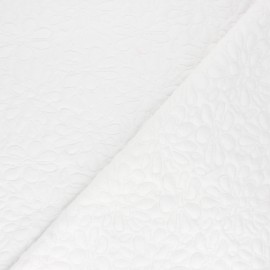 Textured viscose knit fabric - white Daisy x 10cm