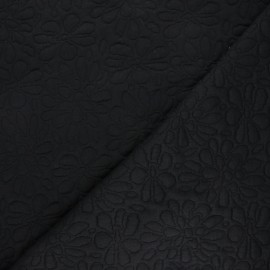 Textured viscose knit fabric - black Daisy x 10cm