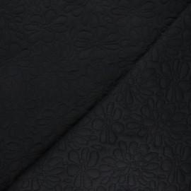 Tissu maille viscose texturé Daisy - noir x 10cm