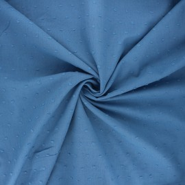 Plumetis cotton voile fabric - swell blue Aéria x 10cm