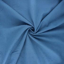 Tissu voile de coton plumetis Aéria - bleu houle x 10cm