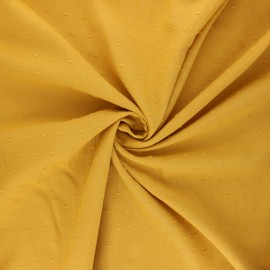 Tissu voile de coton plumetis Aéria - jaune moutarde x 10cm