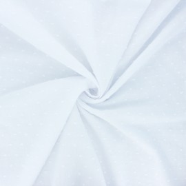 Plumetis cotton voile fabric - white Aéria x 10cm