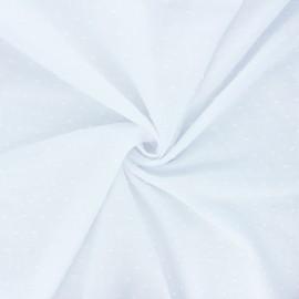 Tissu voile de coton plumetis Aéria - blanc x 10cm
