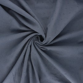 Plumetis cotton voile fabric - dark grey Aéria x 10cm