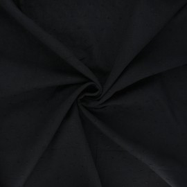 Plumetis cotton voile fabric - black Aéria x 10cm