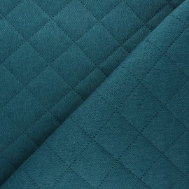 Husky Quilted Fabric - Peacock green x 10cm