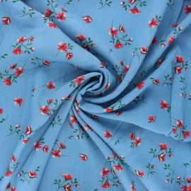 Tissu viscose fleuri Ornate - bleu houle x 10cm